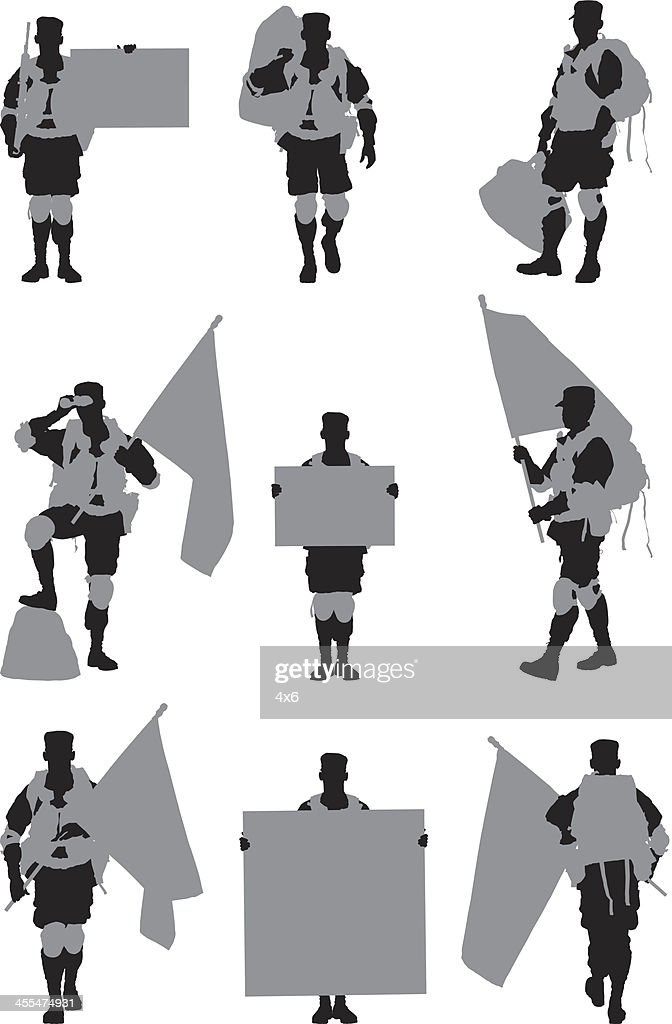 Multiple images of a military man in different poses