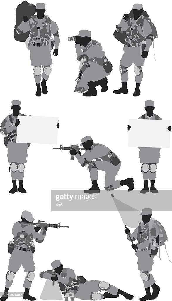 Multiple images of a military soldier
