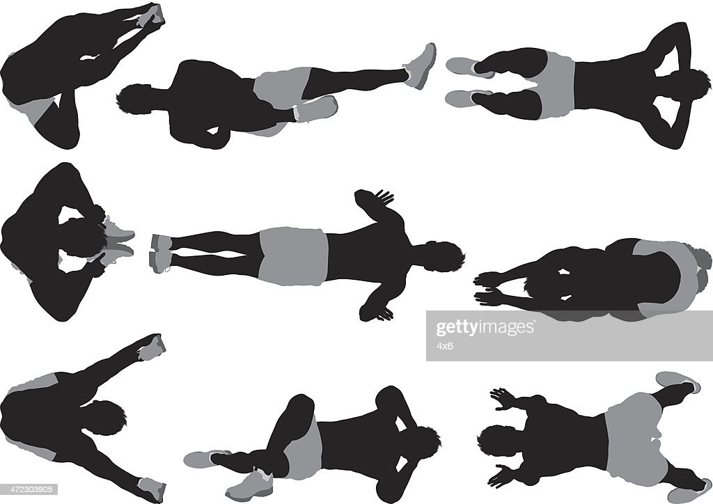 Multiple images of a muscular man exercising : stock illustration