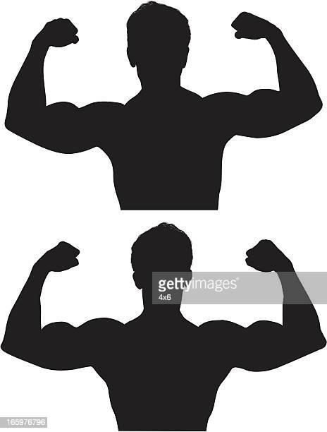 ilustraciones, imágenes clip art, dibujos animados e iconos de stock de varias imágenes de un hombre de flexión sus músculos muscular - flexionar los músculos