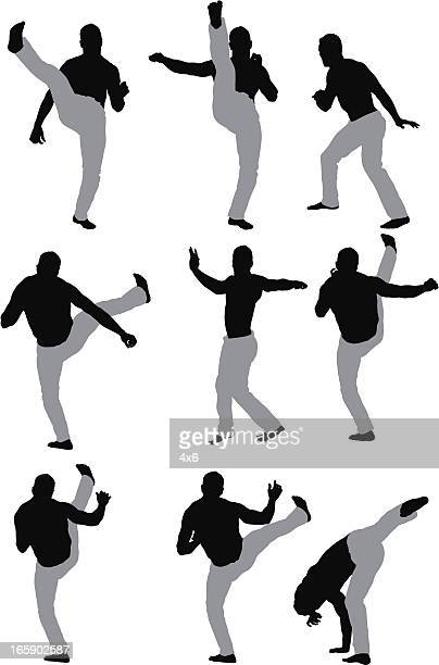 ilustrações de stock, clip art, desenhos animados e ícones de várias imagens de um homem muscular em acção - capoeira