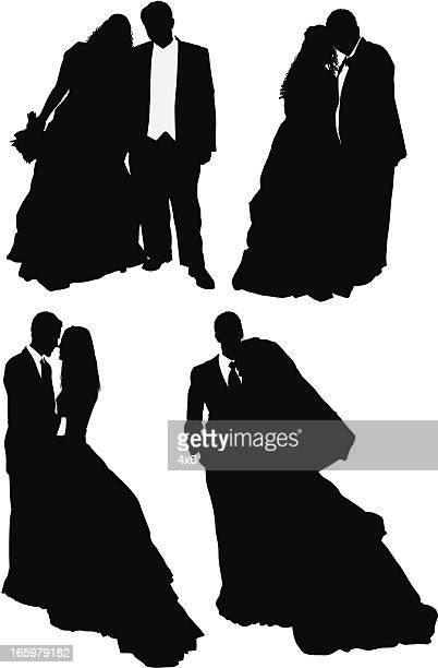Multiple images of a newlywed couple