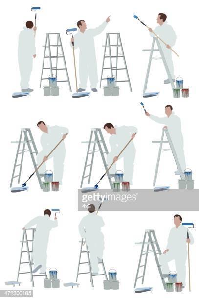 ilustraciones, imágenes clip art, dibujos animados e iconos de stock de varias imágenes de un artista - pintores de brocha gorda