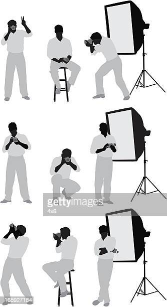 Multiple images of a photographer in studio