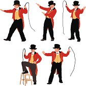 Multiple images of a ringmaster with whip