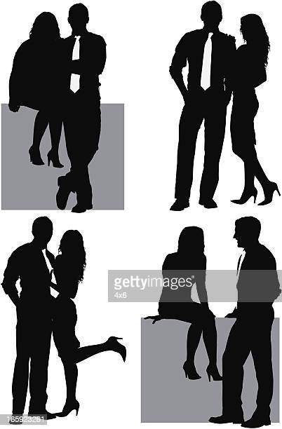 Multiple images of a romantic couple