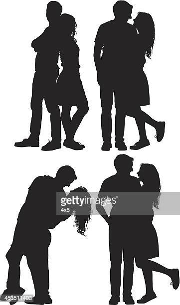 multiple images of a romantic couple - back to back stock illustrations, clip art, cartoons, & icons