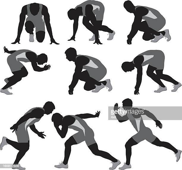 multiple images of a runner - track and field stock illustrations, clip art, cartoons, & icons