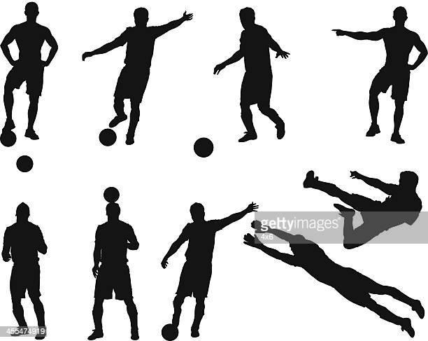 mehrere bilder eines soccer player - fußballspieler stock-grafiken, -clipart, -cartoons und -symbole