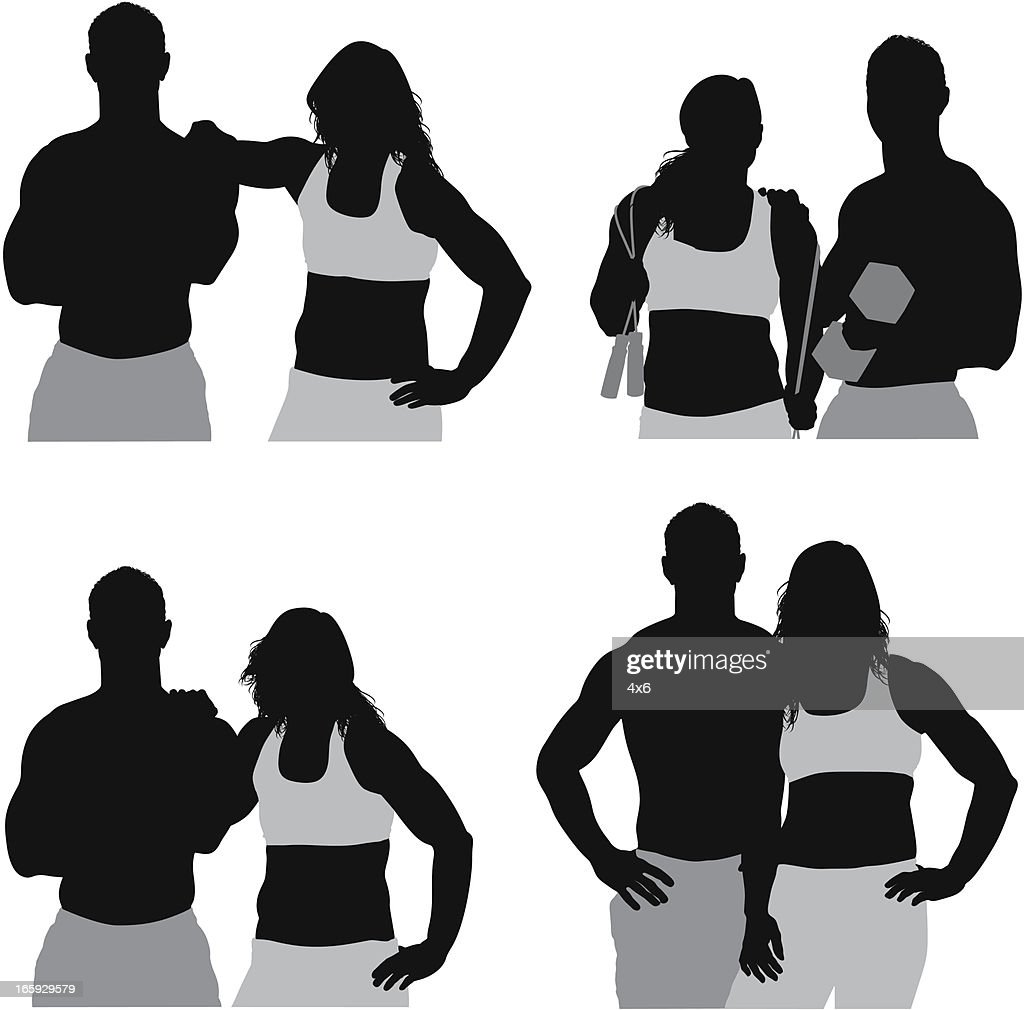 Multiple images of a sports couple : stock illustration