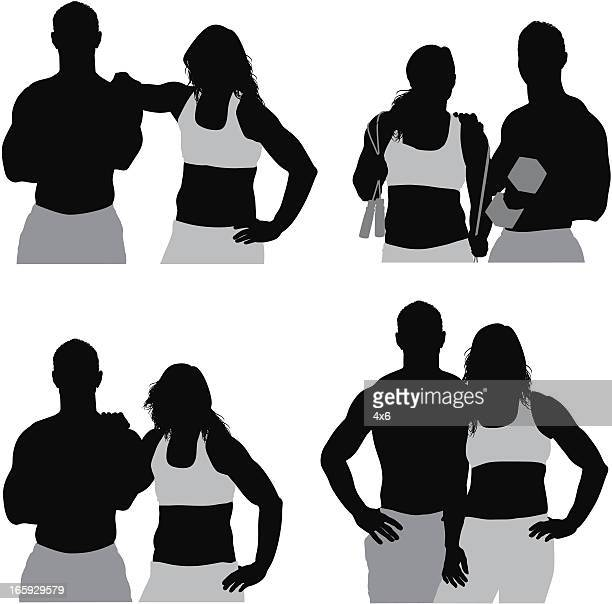 Multiple images of a sports couple
