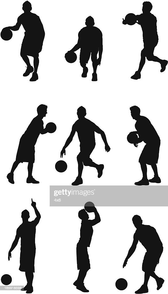 Multiple images of a sportsman playing basketball