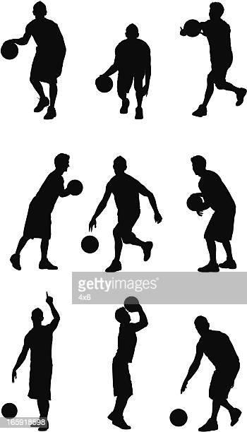 ilustraciones, imágenes clip art, dibujos animados e iconos de stock de varias imágenes de un deportista jugando baloncesto - jugadordebaloncesto