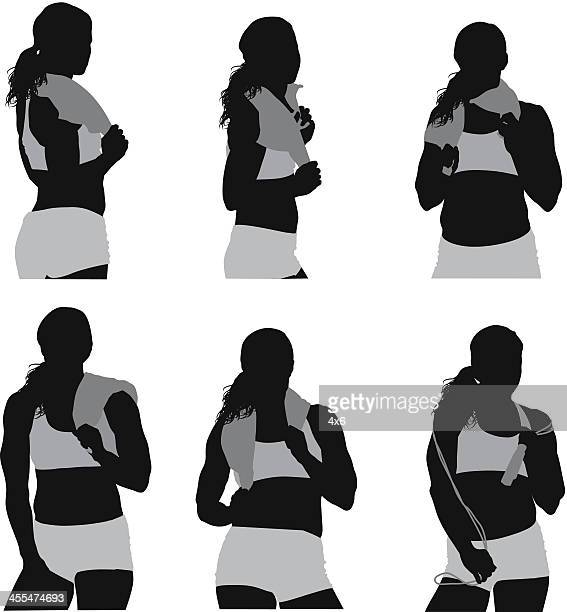 Multiple images of a sportswoman with towel