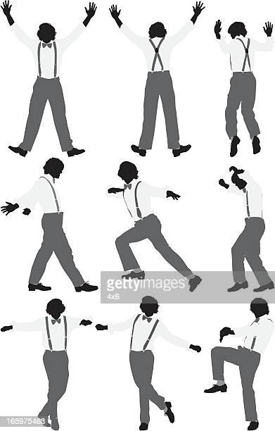 Multiple images of a tap dancer
