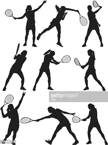 multiple images of a tennis player in action - tennis stock illustrations