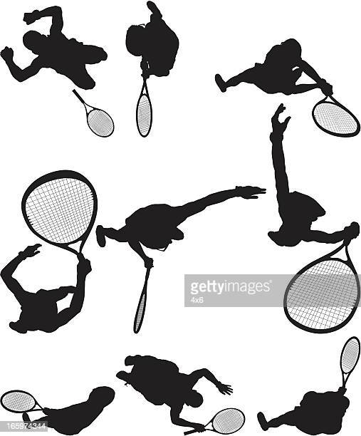 Multiple images of a tennis player