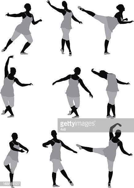 multiple images of a woman dancing - standing on one leg stock illustrations, clip art, cartoons, & icons