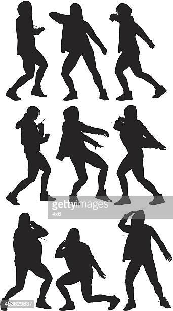 multiple images of a woman dancing - hood clothing stock illustrations