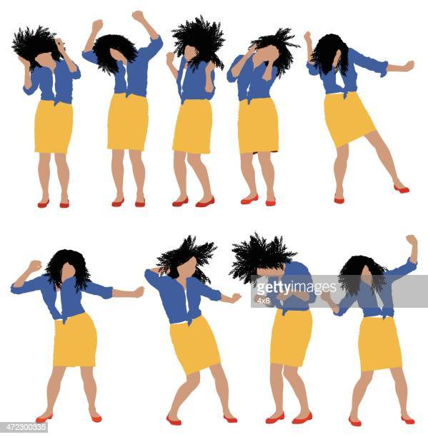 Multiple images of a woman dancing