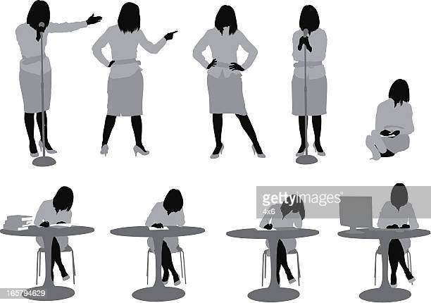 multiple images of a woman in different poses - multiple image stock illustrations, clip art, cartoons, & icons