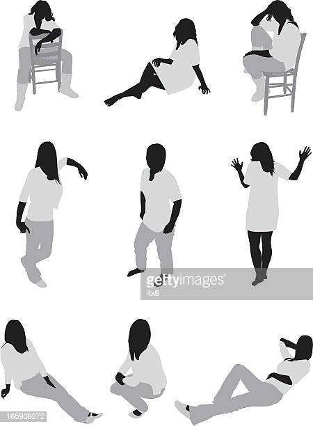 Multiple images of a woman in different poses