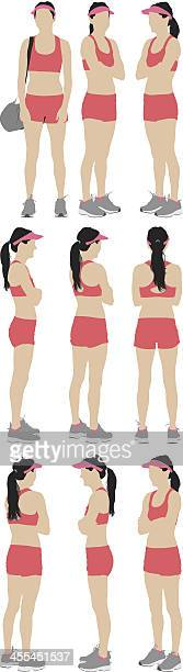 Multiple images of a woman in sports clothing