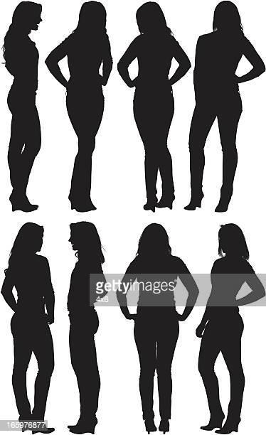 ilustraciones, imágenes clip art, dibujos animados e iconos de stock de múltiples imágenes de una mujer posando - encuadre de cuerpo entero