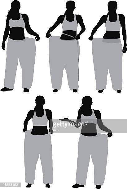 Multiple images of a woman showing her loosing weight