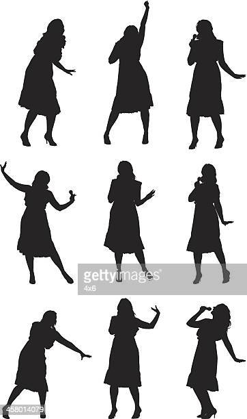 Multiple images of a woman singing and dancing