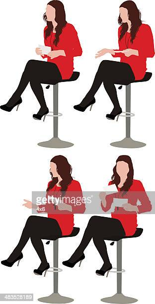 multiple images of a woman sitting on stool - stool stock illustrations, clip art, cartoons, & icons