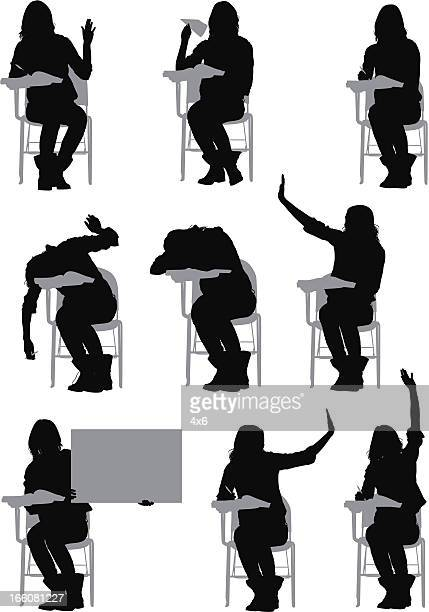 Multiple images of a woman sitting on writing chair