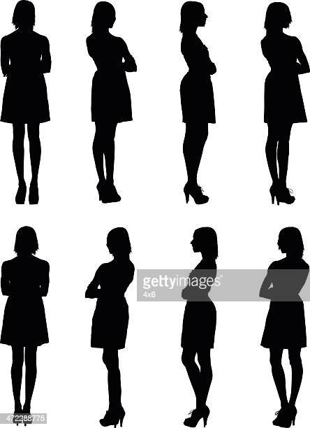 multiple images of a woman - one young woman only stock illustrations
