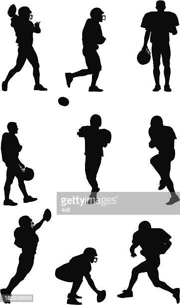 multiple images of an american football player - football player stock illustrations, clip art, cartoons, & icons