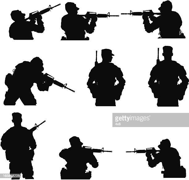 Multiple images of an army man with rifle
