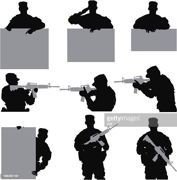multiple images of an army soldier - sniper stock illustrations, clip art, cartoons, & icons