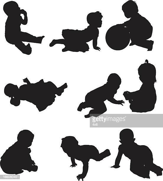 ilustraciones, imágenes clip art, dibujos animados e iconos de stock de múltiples imágenes de bebés jugando - obesidad infantil