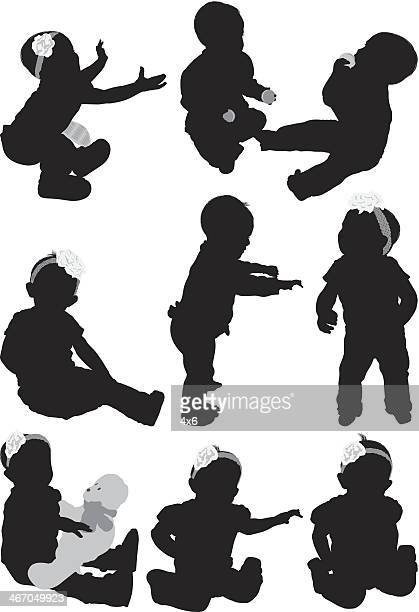 Multiple images of babies playing