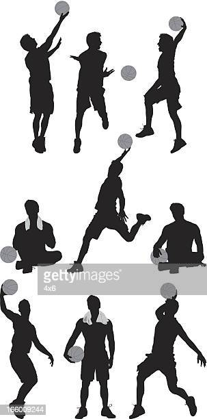 Multiple images of basketball players