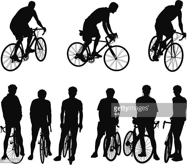 Multiple images of bicyclists