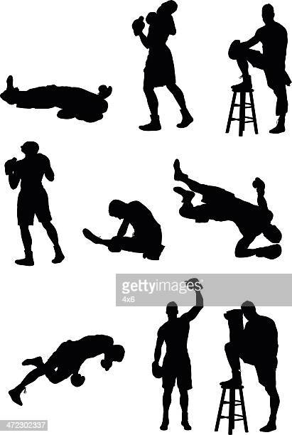 multiple images of boxer - lying on back stock illustrations, clip art, cartoons, & icons