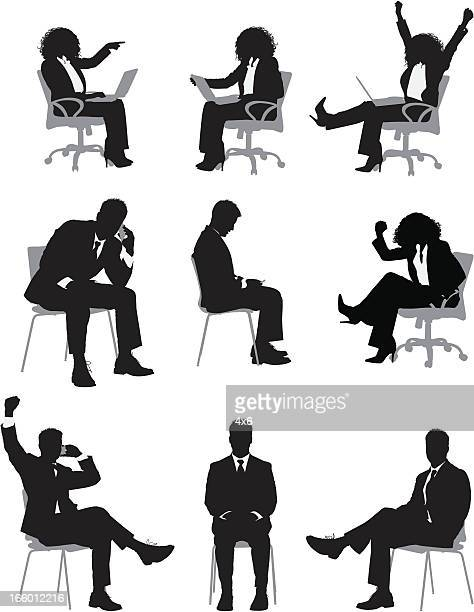 multiple images of busines people sitting on chair - sitting stock illustrations