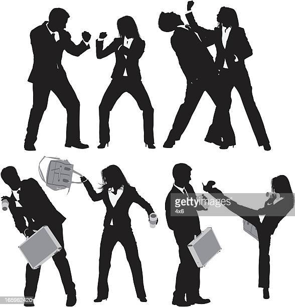 multiple images of business executives fighting - combat sport stock illustrations, clip art, cartoons, & icons