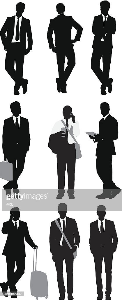 Multiple images of business people posing : stock illustration