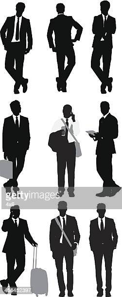Multiple images of business people posing