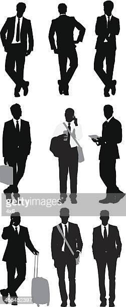 mehrere bilder von business people posieren - full suit stock-grafiken, -clipart, -cartoons und -symbole