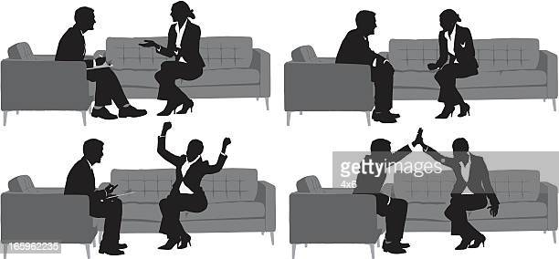 Multiple images of business people with different action
