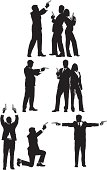 Multiple images of business people with guns