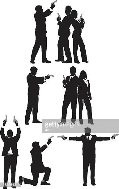 multiple images of business people with guns - back to back stock illustrations, clip art, cartoons, & icons