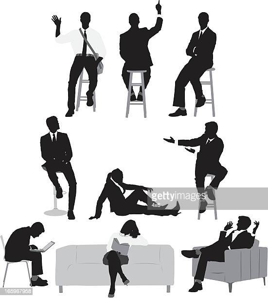 multiple images of businessmen and women - stool stock illustrations, clip art, cartoons, & icons